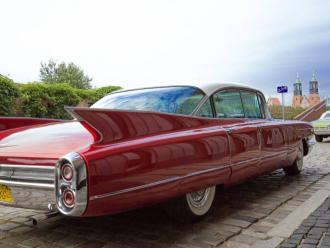 Na wesele auto, Cadillac, auto do ślubu, Samochód, auto do ślubu, limuzyna Śmigiel