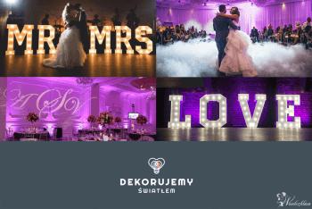 DEKORUJEMY ŚWIATŁEM - NAPIS LOVE, DEKORACJA ŚWIATŁEM, CIĘŻKI DYM, Dekoracje ślubne Milanówek