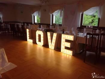Napis LOVE , dekoracje ślubne , sal weselnych , balony z helem, Dekoracje ślubne Oława