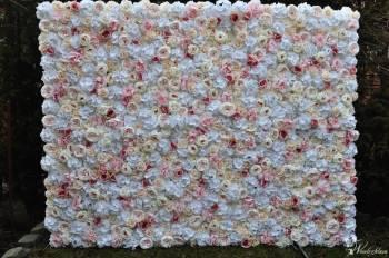 Wypożyczalnia dekoracji ślubnych Tło dekoracyjne z kwiatów 2,5 m x 2 m, Dekoracje ślubne Sobótka