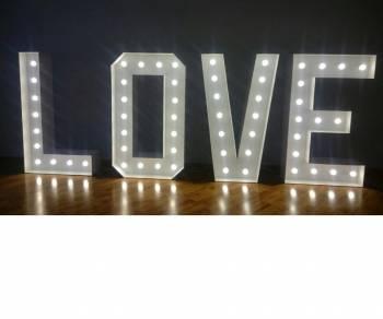 Napis LOVE podświetlany, duży 120 cm + Auto do ślubu, samochód- JAGUAR, Napis Love Lublin