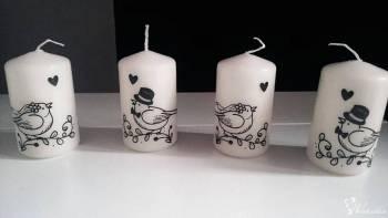 Wyjątkowe, piękne świece z dowolnym transferem, dekoracja sali, Dekoracje ślubne Knurów