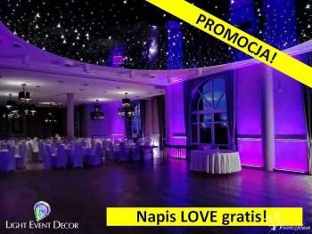 Oświetlenie LED,dekoracja światłem,ciężki dym,bańki mydlane,napis LOVE, Dekoracje ślubne Bodzentyn