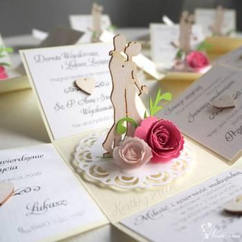 Zaproszenia ślubne 3D rozkładane, pudełka, exploding box, przestrzenne, Zaproszenia ślubne Katowice