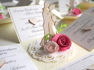 Zaproszenia ślubne 3D rozkładane, pudełka, exploding box, przestrzenne, Zaproszenia ślubne Toszek