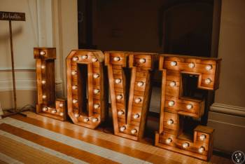 Napis LOVE DREWNIANY podświetlany rustykalny| wesele sesje| fotobudka, Napis Love Bielawa
