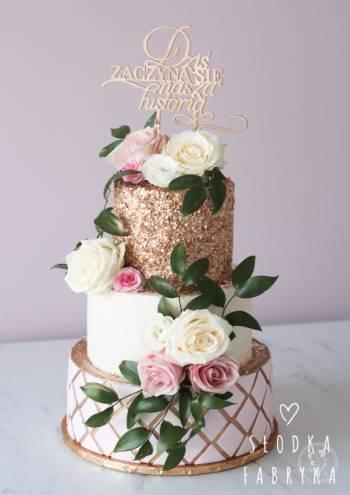 Słodka Fabryka Nowoczesne Naturalne Torty Weselne Naked Cake Drip Cake, Tort weselny Skórcz
