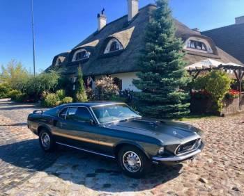 Mustang Mach 1 1969 wynajem do ślubu z kierowcą, Samochód, auto do ślubu, limuzyna Zakroczym