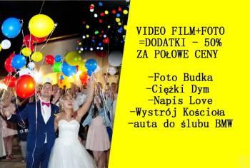 video film+foto+dron+foto budka lub auto ,ciężki dym, love GRATIS, Kamerzysta na wesele Nowy Tomyśl