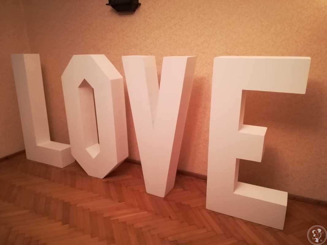 Duży (120cm) Biały Napis LOVE Ślub Wesele Imprezy Okolicznościowe, Łódź - zdjęcie 1
