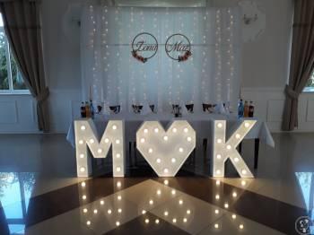 Ścianka kwiatowa/LED weselna fotograficzna, tło do zdjęć za Parę Młodą, Dekoracje ślubne Pionki