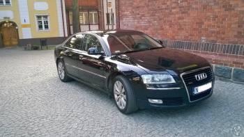 Piękne Audi A8 czarna perła, jasny środek, Samochód, auto do ślubu, limuzyna Braniewo