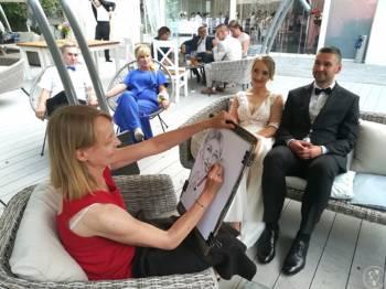 Karykatura karykatury atrakcje weselne karykaturzysta Jolanta Okrągła, Unikatowe atrakcje Krynica Morska