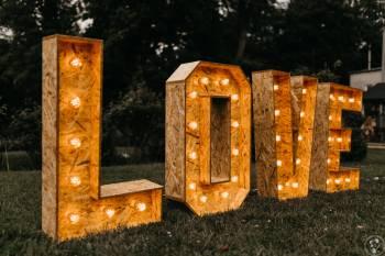 Wynajem: rustykalny napis LOVE, Dekoracje światłem Koźmin Wielkopolski