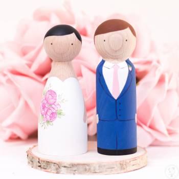 Topper cake, ręcznie malowane figurki Pary Młodej na tort weselny, Artykuły ślubne Iłża