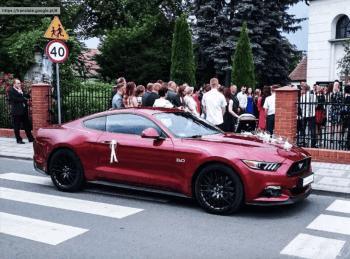 Rubinowy Ford Mustang do ślubu. Wynajem samochodu na wesele. Samochód, Samochód, auto do ślubu, limuzyna Tuliszków