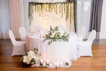 ścianka weselna  miedź kurtyna LED, tło za parą młodą terminy na 2020, Dekoracje ślubne Garwolin