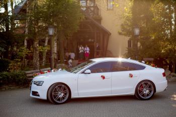 Samochód do ślubu Audi A5 S-Line białe, Samochód, auto do ślubu, limuzyna Nowa Sarzyna