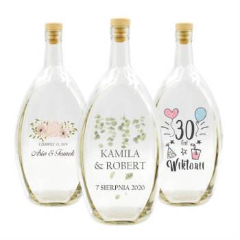 Butelki z nadrukiem lub grawerem, BECZUŁKI, PODZIĘKOWANIA dla gości, Artykuły ślubne Maków Podhalański