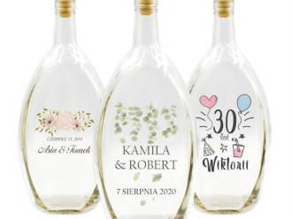 Butelki z nadrukiem lub grawerem, BECZUŁKI, PODZIĘKOWANIA dla gości, Artykuły ślubne Niedomice