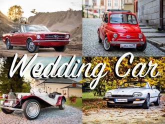 Ford MUSTANG 65′ V8 Jaguar XJSC Fiat 500 Mercedes SSK SamochódDoŚlubu, Samochód, auto do ślubu, limuzyna Tyczyn