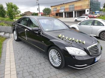 Limuzyna Mercedes S-Klasa Long. Piękna, czarna z jasną tapicerką., Samochód, auto do ślubu, limuzyna Nowe Brzesko