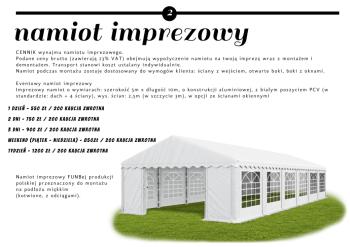 Namiot imprezowy 5x10 m, Wypożyczalnia namiotów Wągrowiec