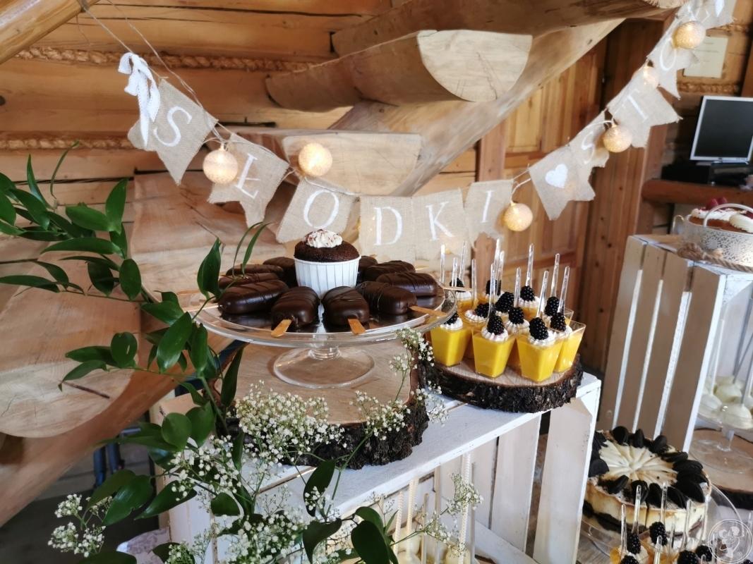Wyjątkowy Słodki Stół na Twoim weselu, tort weselny, Kobiór - zdjęcie 1