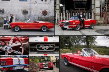 Czerwony Ford Mustang do ślubu, Samochód, auto do ślubu, limuzyna Mirsk