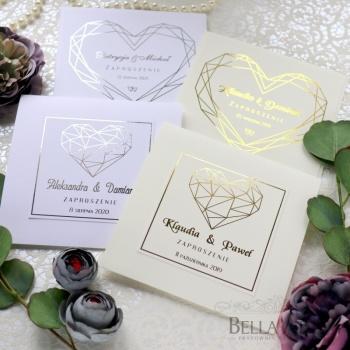 Złocone Zaproszenia ślubne Klasyczne Eleganckie na ślub Rustykalne Eko, Zaproszenia ślubne Darłówek