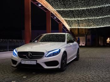 Wyjątkowa biała limuzyna Mercedes C klasa AMG ze sportowym charakterem, Samochód, auto do ślubu, limuzyna Wyszków