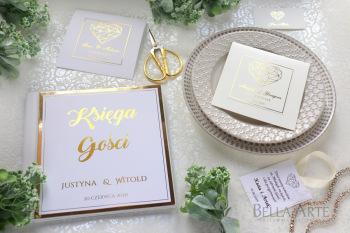 Złocone Zaproszenia ślubne Klasyczne Eleganckie na ślub Rustykalne Eko
