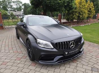 Czarny Mercedes C43 AMG Coupe do ślubu wynajem samochód na wesele ślub, Samochód, auto do ślubu, limuzyna Toruń