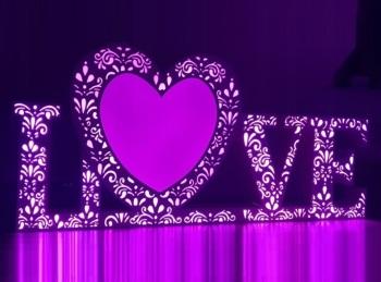 Napis LOVE wynajem LED Multikolor Ciężki Dym Taniec w Chmurach, Napis Love Kosów Lacki