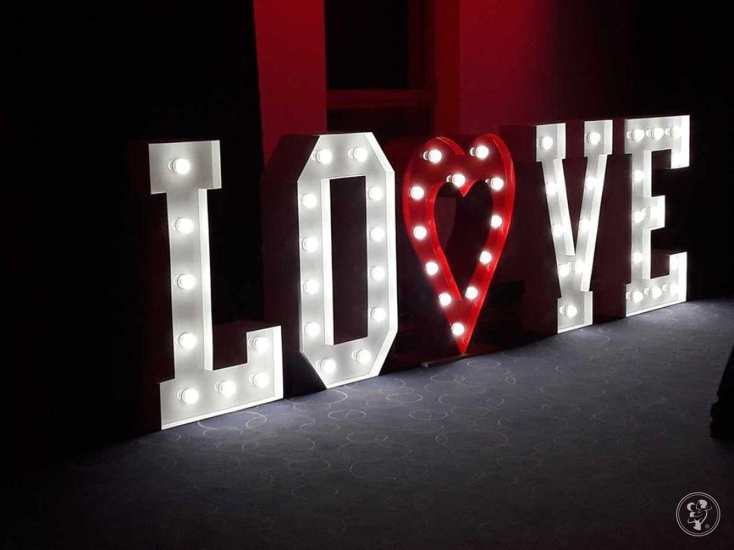 Świecący napis LOVE + serce - na wesele, imprezę, Warszawa - zdjęcie 1