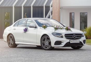 Mercedes E w kolorze BIAŁA PERŁA, Samochód, auto do ślubu, limuzyna Świdnik