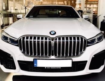 BMW serii 7 Biała perła z białymi skórami . Rok produkcji 2021, Samochód, auto do ślubu, limuzyna Iława