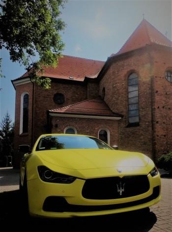 Żółty mat Maserati Ghibli. Jedyny taki samochód w Polsce do ślubu!!, Samochód, auto do ślubu, limuzyna Poznań