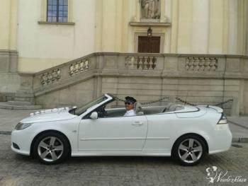 Biały Kabriolet Białe Cabrio Saab 93 & Jeep Wrangler Czerwony Suv, Samochód, auto do ślubu, limuzyna Łosice