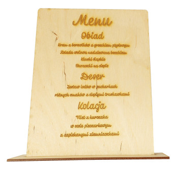 MENU WESELNE drewno personalizacja grawer, Dekoracje ślubne Rybnik