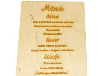 MENU WESELNE drewno personalizacja grawer,  Jastrzębie-Zdrój