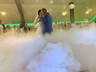 Taniec w chmurach-ciężki dym, pierwszy taniec, CO2, napisy led, balony,  Częstochowa