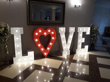 Napis LOVE Miłość Mega serce dekoracja światłem, Napis Love Mońki
