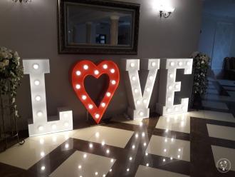 Napis LOVE Miłość Mega serce dekoracja światłem,  Białystok
