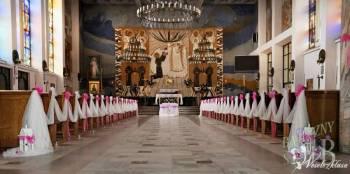 Dekoracja kościoła samochodu sali bukiety ślubne, Dekoracje ślubne Żywiec