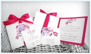 zaproszenia ślubne z karykaturą, malowanymi kwiatami, Zaproszenia ślubne Jasło