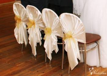 Pokrowce na krzesła dekoracja krzeseł wypożyczę, Dekoracje ślubne Brzeziny